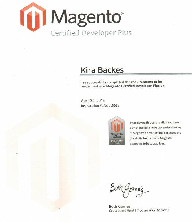 Kira Backes has successfully completed the requirements to be recognized as a Magento Certified Developer Plus